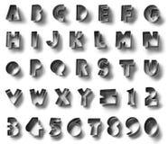 金属化字母表标志,隔绝在白色背景中 免版税库存照片