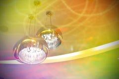 金属化枝形吊灯、电和灯光管制线和五颜六色的样式 免版税库存图片