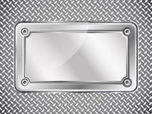 金属化纹理抽象背景,与螺丝的钢标识牌 免版税库存照片
