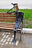 金属化著名画家瓦西里在一个现代样式设计的Kandinsky雕塑,位于在当代艺术附近的诺夫哥罗德中心  图库摄影