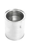金属化锡罐,罐头,隔绝在白色背景 免版税库存照片