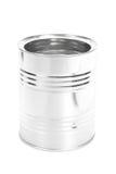 金属化锡罐,罐头,隔绝在白色背景 免版税库存图片