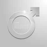 金属化阳刚之气的标志在灰色背景的 免版税库存照片