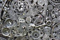 金属化齿轮,汽车,汽车, motocycle 工艺品从使用的备件的金属艺术品 库存照片