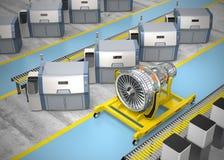 金属化3D在引擎立场的打印机和喷气机爱好者引擎 图库摄影