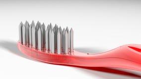 金属和危险红色牙刷 皇族释放例证
