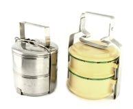 金属和银tiffin,食盒 免版税库存照片