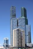 金属和玻璃摩天大楼在河附近的一个大城市 免版税库存图片