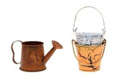 金属喷壶和桶 免版税库存照片