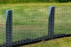 金属在绿色草坪的栅格篱芭 库存照片
