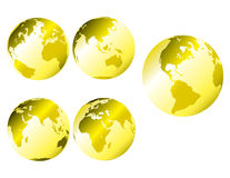 金属地球的金子 库存例证