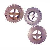金属套在被定调子的白色背景时尚的齿轮 3d例证 免版税库存图片