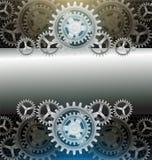 金属嵌齿轮轮子黑颜色背景 免版税库存照片