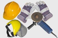 金属工作者工具和保护 库存照片