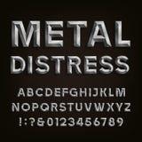 金属成斜面的困厄的字体 scrapbooking向量的字母表要素 免版税库存图片
