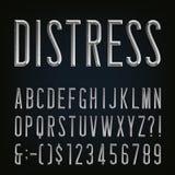 金属成斜面的困厄的狭窄的字体 scrapbooking向量的字母表要素 免版税库存图片