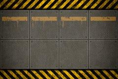 金属数据条模板警告 免版税库存图片