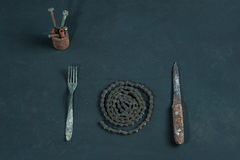 金属晚餐 库存照片