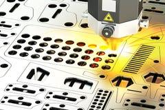 金属板, 3D激光切口与火花的翻译 免版税库存照片
