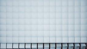 金属栅格的现代转折转动与明亮的蓝色立方体的波浪与阿尔法