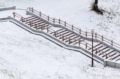 金属栏杆,冬天 库存照片