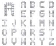 金属格子字体在汇集3D上写字 免版税图库摄影