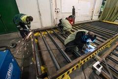 金属框架商店装配地铁的 库存照片