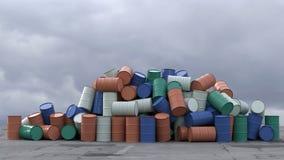 金属桶堆 库存例证