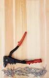 金属流行音乐铆钉和一个铆钉在木头 免版税图库摄影