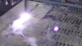 金属片用等离子激光切削刀切开 重工业 股票视频