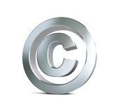 金属版权符号3d例证 免版税图库摄影