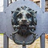 金属狮子头敲门人 免版税库存图片