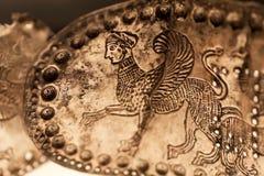 从金属的传送带在区域Vani, 4世纪艺术埋葬BC发现了  英王乔治一世至三世时期国家博物馆保存的人工制品,第比利斯 免版税库存图片