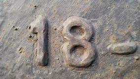 金属第18 生锈的金属纹理以图18的形式 免版税库存照片
