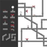 金属管子设置与manometr 库存例证