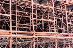 金属管子建筑支持具体块 库存照片