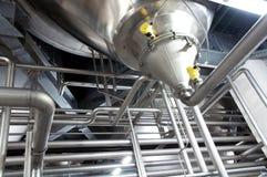 金属管道在产业工厂 免版税库存图片