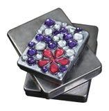 金属箱子的多大小用铁导线和指甲盖p装饰 库存图片