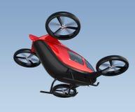 金属红色自驾驶的乘客寄生虫飞行背面图在天空的 库存例证