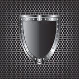 金属纹理和盾 免版税库存照片