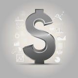 金属美元的符号 图库摄影