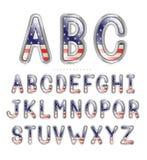 金属美国国旗字体 免版税图库摄影
