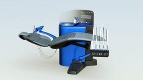 金属蓝色牙齿单位设备的示范 库存例证