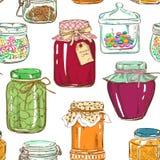 金属螺盖玻璃瓶的五颜六色的无缝的样式 库存照片