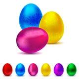 金属装饰的复活节彩蛋收藏- 6种颜色 图库摄影