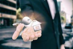 金属钥匙的综合图象与圆环的 免版税库存图片