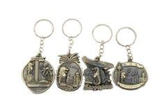 金属钥匙链是从新加坡标志的纪念品 免版税库存照片