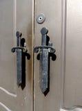 金属门的片段 免版税库存图片