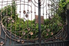金属门的装饰与伪造的元素的 库存图片