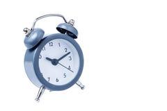 金属闹钟在白色背景上午10点的工作时间 免版税图库摄影